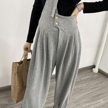Load image into Gallery viewer, New Korean Style Pleated Loose Match All Wide Waisted Button