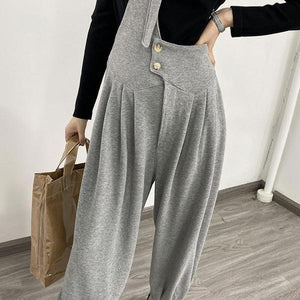 New Korean Style Pleated Loose Match All Wide Waisted Button
