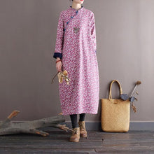 Load image into Gallery viewer, Omychic Loose Printed Stand Collar Dress  2020 Autumn Winter Dress