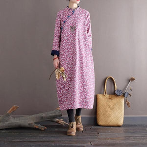 Omychic Loose Printed Stand Collar Dress  2020 Autumn Winter Dress