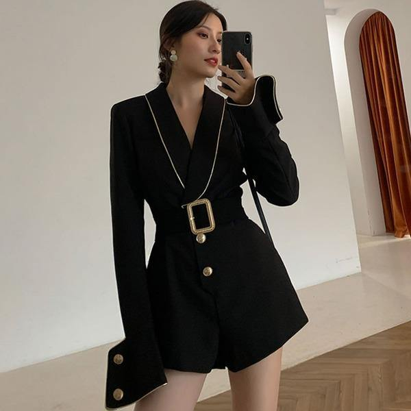 Patchwork Bow Jumpsuit  Winter  New Style Temperament All Match Doddess Fan Women Clothes