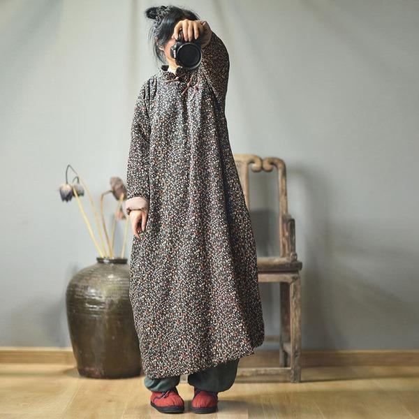 Vintage Cotton Linen Print Padded Dresses Female 2020 Autumn Winter Dress