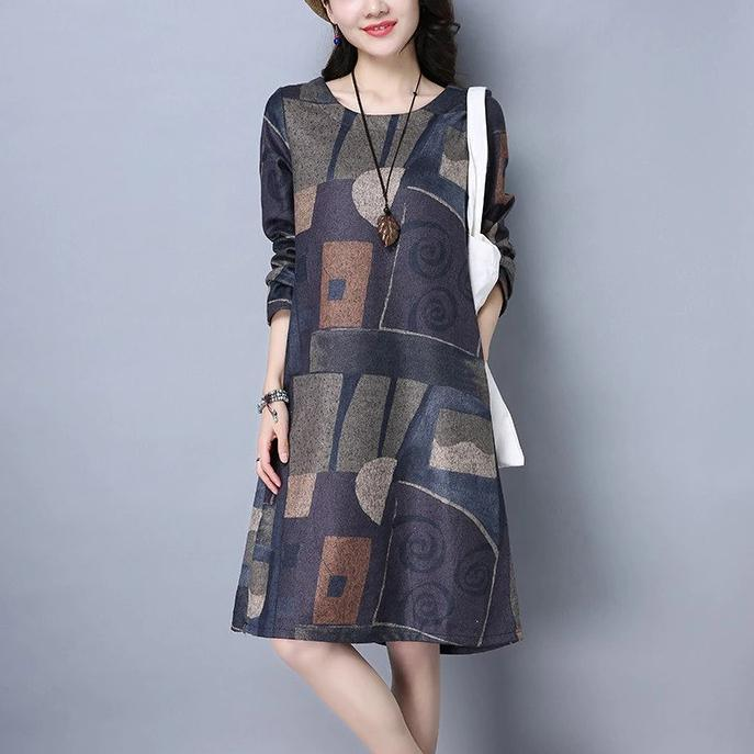 long sleeve cotton vintage print women casual loose midi autumn spring winter party dress  2019  ladies dresses