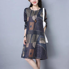 Load image into Gallery viewer, long sleeve cotton vintage print women casual loose midi autumn spring winter party dress  2019  ladies dresses