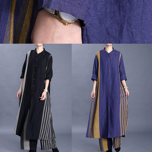 20 New Women's Art Cotton Long Line Cardigan Top Loose Wide Leg Pants Blue Stripe Two Piece Set