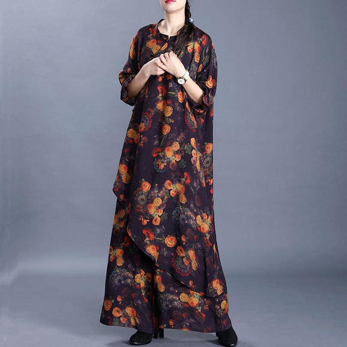 20 spring big artiste silk blend black printed irregular clothes loose wide leg pants two-piece suit