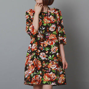 2015 new summer dress cotton floral shift dress black sundress