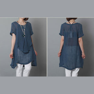 2015 new sundress navy linen dresses loose fitting layered summer dresses-will be available soon