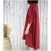 Load image into Gallery viewer, Burgundy cotton sundress causal plus size summer dresses maternity shirt blouse