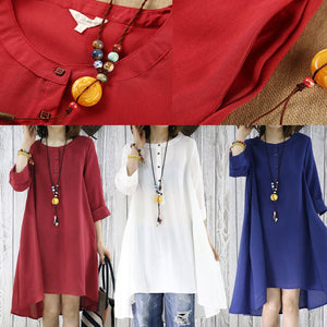 Burgundy cotton sundress causal plus size summer dresses maternity shirt blouse