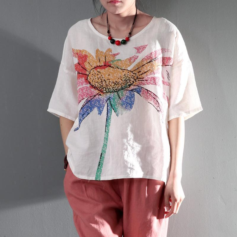 2016 Burning sunflower white linen t shirt blouse women summer top