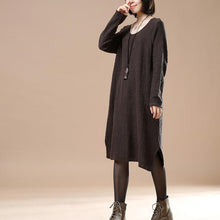 Laden Sie das Bild in den Galerie-Viewer, Chocolate oversize women sweaters knit dresses