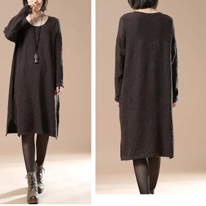 Chocolate oversize women sweaters knit dresses
