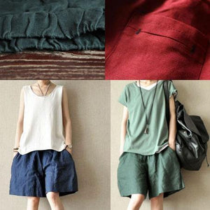Green women summer linen short pants pockets cotton shorts