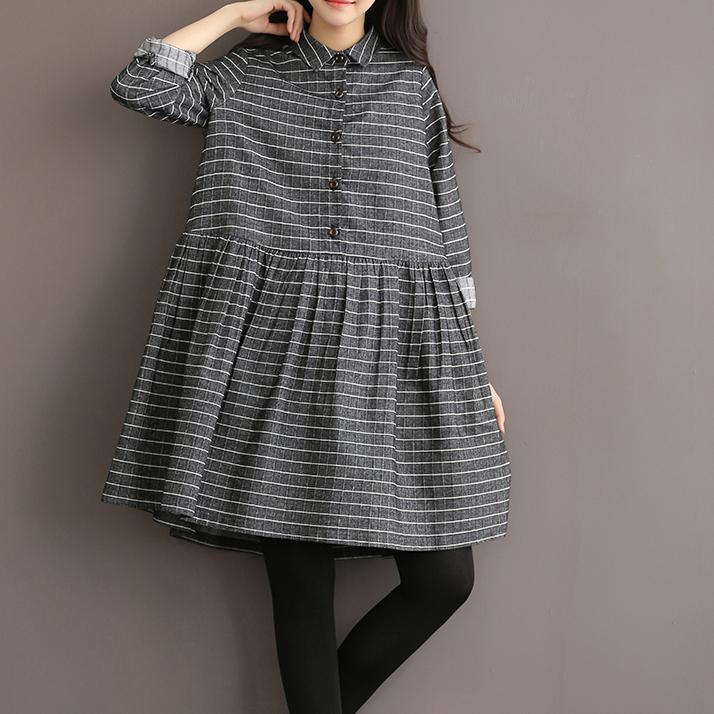 Grey vintage striped linen dress cotton shirt dress high quality fit flare spring dresses