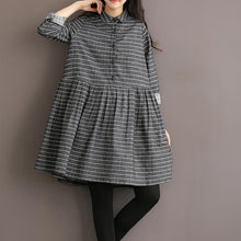 Laden Sie das Bild in den Galerie-Viewer, Grey vintage striped linen dress cotton shirt dress high quality fit flare spring dresses