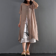 Load image into Gallery viewer, Khaki cotton layered sundress loose causal summer maxi dresses print dress inside
