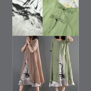 Khaki cotton layered sundress loose causal summer maxi dresses print dress inside