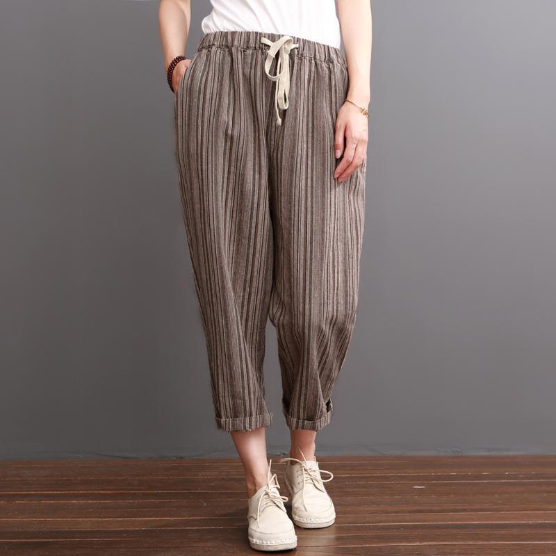 Khaki striped linen pants summer crop pants