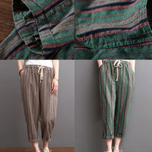 Load image into Gallery viewer, Khaki striped linen pants summer crop pants