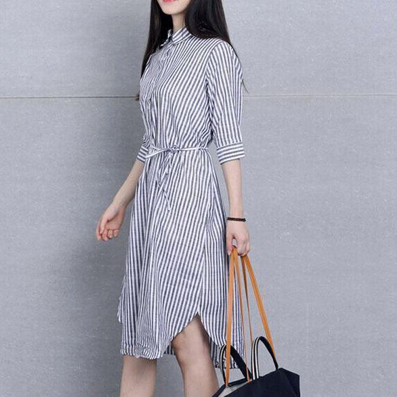 2016 Linen sundress striped long shirt dresses summer shift dress casual style