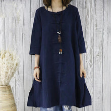 Laden Sie das Bild in den Galerie-Viewer, Navy cotton women cardigan dress summer blouse shirt top