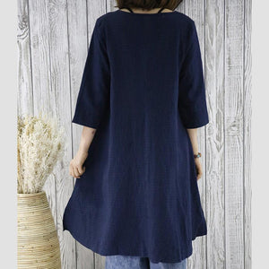 Navy cotton women cardigan dress summer blouse shirt top
