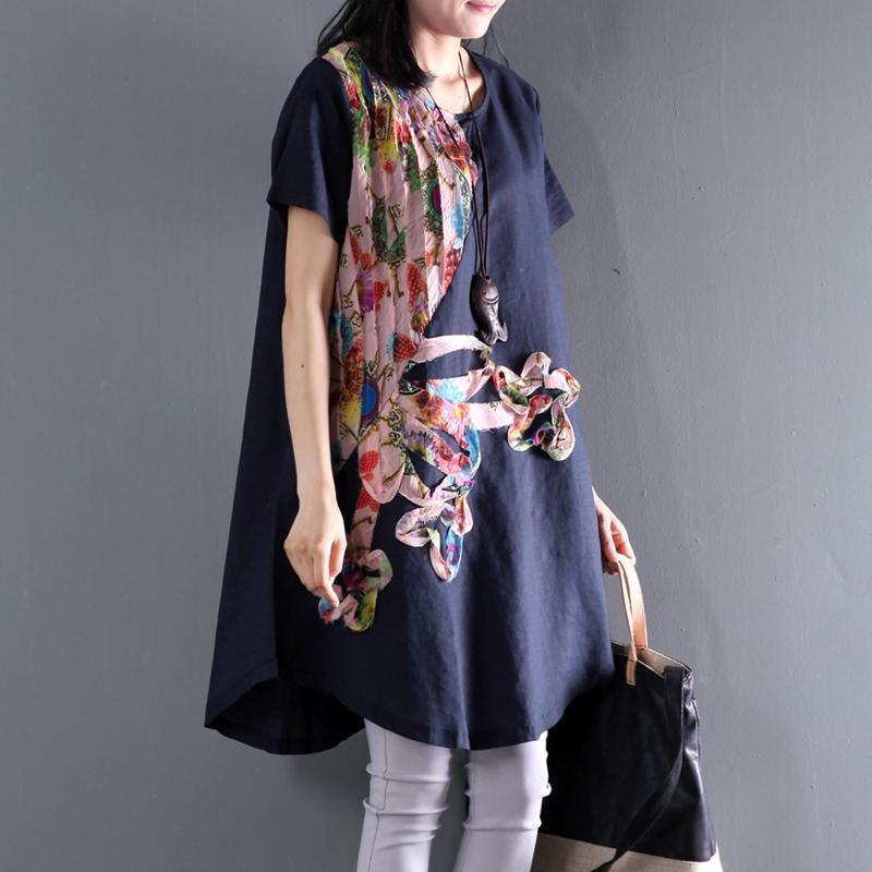 Navy floral sundress asymmetric short sleeve summer blouse dresses top