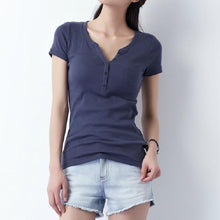 Load image into Gallery viewer, Navy natural cotton women t shirt tunick blouse top plus size
