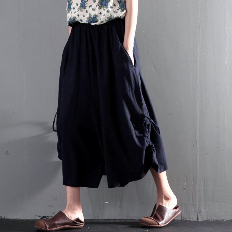 Navy summer linen skirt pants wide leg unique trousers