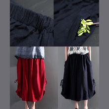 Load image into Gallery viewer, Navy summer linen skirt pants wide leg unique trousers