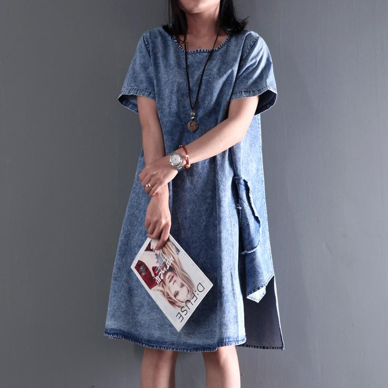 New Asymmetric denim sundress plus size denim summer dresses short sleeve blouse
