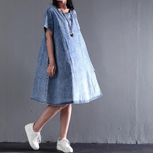 Load image into Gallery viewer, New Asymmetric denim sundress plus size denim summer dresses short sleeve blouse