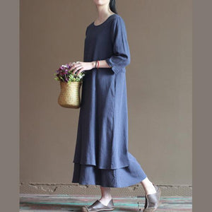 New navy layered maxi dress linen traveling clothing