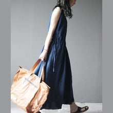 Laden Sie das Bild in den Galerie-Viewer, 2016 New navy linen dress for summer maxi dress linen sundress casual holiday dresses