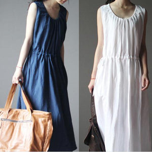 2016 New navy linen dress for summer maxi dress linen sundress casual holiday dresses