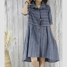 Load image into Gallery viewer, New summer dress half sleeve grid plus size fit flare shirt dress blouse