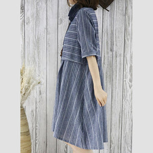 New summer dress half sleeve grid plus size fit flare shirt dress blouse