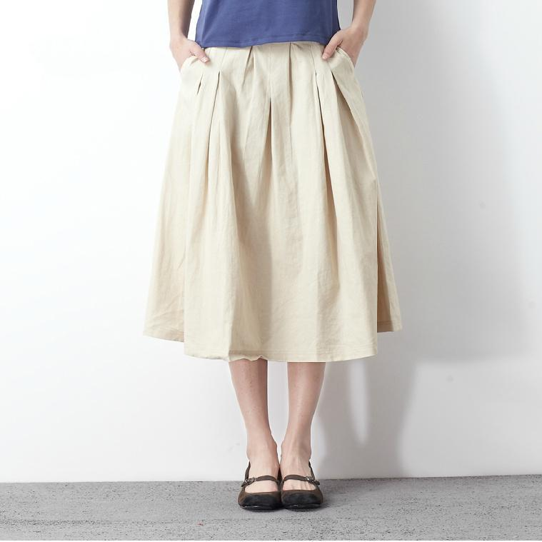 2016 Nude summer linen maxi skirt loose fitting casual khaki long skirts