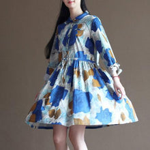 Load image into Gallery viewer, Painted floral cotton sundress half sleeve fit flare summer dresses