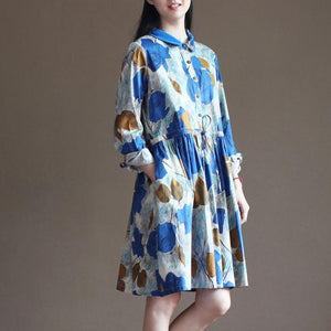Painted floral cotton sundress half sleeve fit flare summer dresses