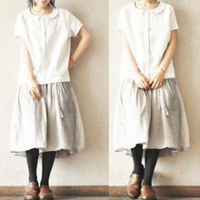 Load image into Gallery viewer, White short sleeve linen short women cardigan cotton short sleeve