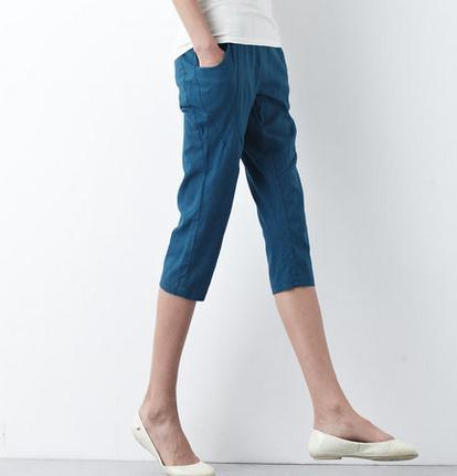 2016 aqua blue linen capri pants casual crop pants summer pants
