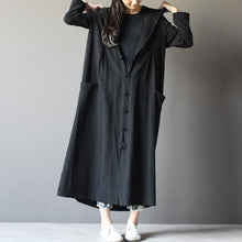 Load image into Gallery viewer, black linen cardigan dress plus size long maxi coat summer linen clothing