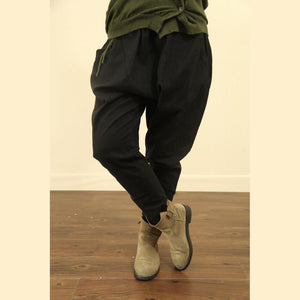 black linen casual pockets harem pants