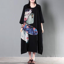 Load image into Gallery viewer, black linen maxi summer dress plus size linen sundress traveling clothing