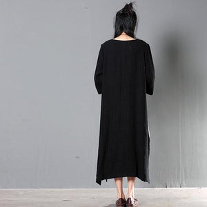 black linen maxi summer dress plus size linen sundress traveling clothing
