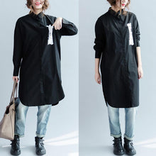 Load image into Gallery viewer, black long sleeve cotton dress womens shirt dresses blouse