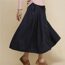 Load image into Gallery viewer, black pockets linen maxi skirt summer cotton long skirts
