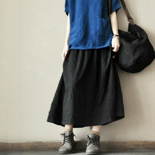 black retro cotton maxi skirt elastic wait summer skirts